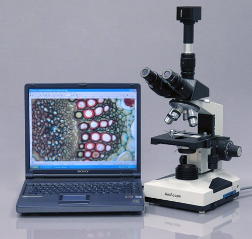 AmScope T490A-5M Digital Compound Trinocular Microscope, WF10x and WF16x Eyepieces, 40X-1600X Magnification, Brightfield, Halogen Illumination, Abbe Condenser, Double-Layer Mechanical Stage, Sliding Head, High-Resolution Optics, Includes 5MP Camera with R by AmScope