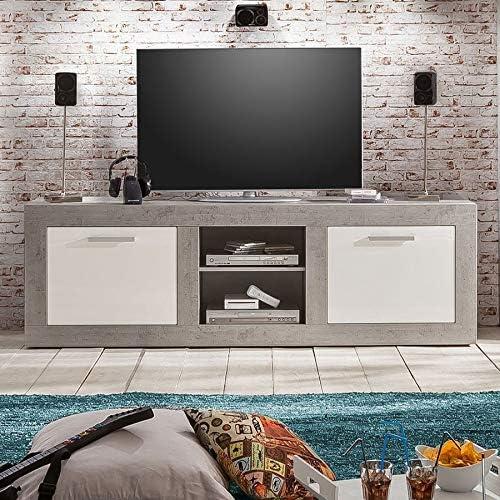 Mueble para TV moderno blanco lacado con efecto cemento encerado ...