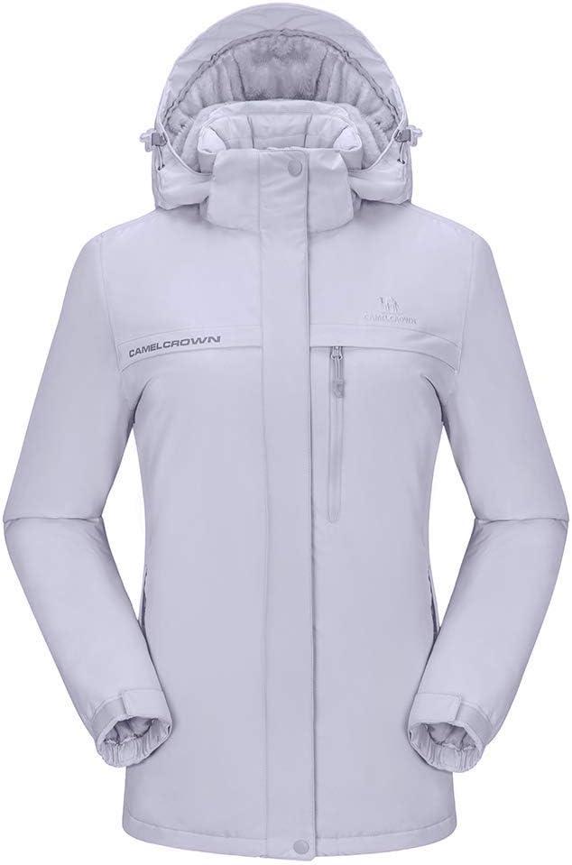 CAMEL CROWN Chaqueta Impermeable con Capucha para Mujer A Prueba de Viento Chaqueta de Esqu/í con Forro Polar Jacket Invierno para Monta/ña Acampada Viajes Snowboard Deportes