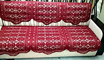 Griiham 3 Seater Maroon Embroidery Sofa Cover