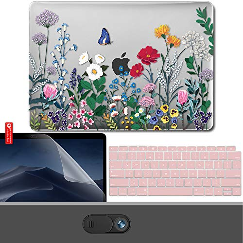 - GMYLE MacBook Air 13 Inch Case 2018 Release A1932 with Touch ID Retina Display Bundle, Plastic Hard Shell, Privacy Webcam Cover Slide, Screen Protector and Keyboard Skin Set - Springtime Floral Garden