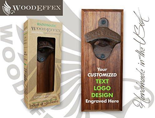 Bottle Opener Magnetic Cap Catcher – Handmade Walnut Wood with Custom Engraved Wording or Logo