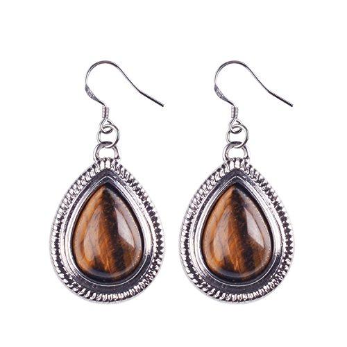 Golden Brown Earring (JOYA GIFT Delicate Tiger Eye Gemstone Piercing Dangle Earrings for Women)