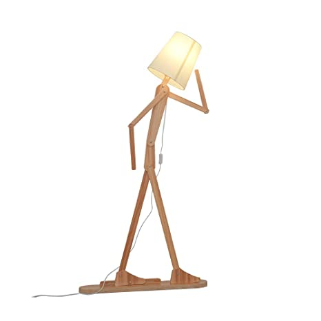Hroome modern contemporary decorative wooden floor lamp light with hroome modern contemporary decorative wooden floor lamp light with fold white fabric shade adjustable height standing solutioingenieria Images
