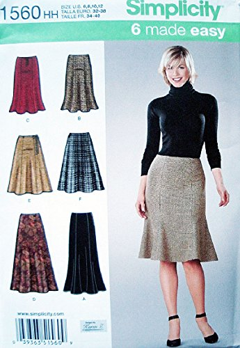 - Simplicity 6 Made Easy Pattern 1560 Misses Skirts - 2 Lengths - Karen Z Designs Sizes 6-8-10-12