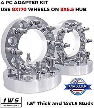 COMPLETE SET WHEEL SPACER ADAPTERS 8X170 TO 8X6.5 14X1.5 STUDS 1.5 INCH THICK