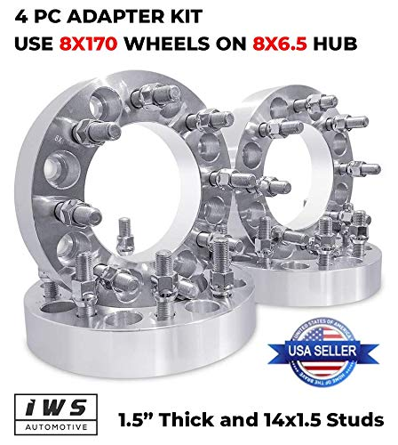 (Bill Smith Auto Replacement for 4 PCs Wheel Adapters 8x6.5 to 8x170mm 14mmx1.5 Put Ford Wheel Rims On)