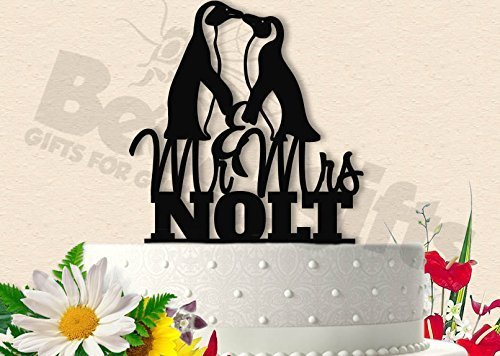 Penguins With Last Name Wedding Cake Topper