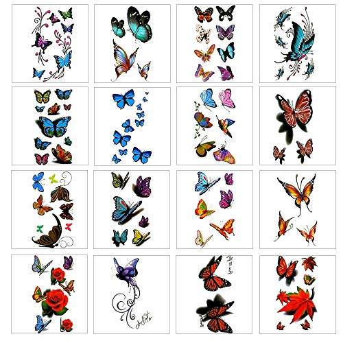 16 Sheets 3D Colorful Temporary Tattoo Stickers with Butterfly Flower Design and Premium Waterproof, Non-Toxic Body Painted Tattoo Stickers Art Decal Removable.