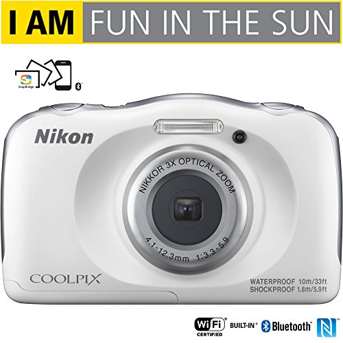 Nikon COOLPIX W100 13.2MP 1080P Digital Camera w/3x Zoom Lens, WiFi, SnapBridge, White (26515B) – (Certified Refurbished)