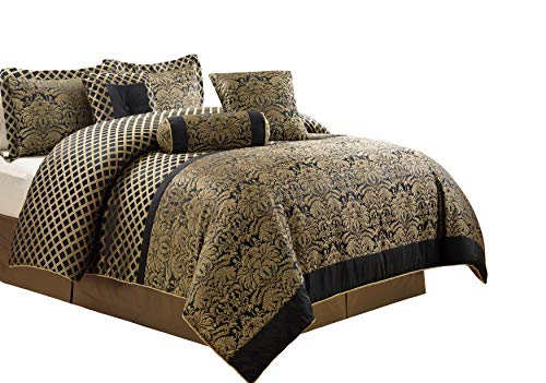 Chezmoi Collection Lisbon 7-Piece Jacquard Floral Comforter Set, Queen, Black/Gold