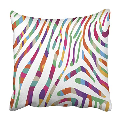 (Emvency Throw Pillow Cover Rainbow with Colorful Zebra Skin Pattern Abstract African Animal Bright Color Print Home Decor Design Square Set Cushion Case 18 x 18 Inch of Bedroom Sofa Pillowcase)