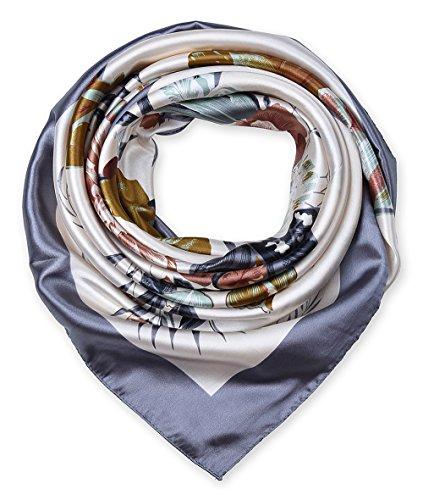 Large Square Satin Silk Like Lightweight Scarfs Hair Sleeping Wraps for Women Grey Flowers Pattern ()