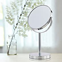 Cerdeco 6 Inch Two-Sided Makeup Mirror with 5x Magnification Vanity Mirror Tabletop Mirror Chrome Finished