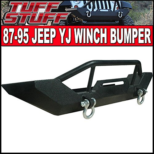 Tuff Stuff YJ TJ Jeep Wrangler Front Winch Mount Bumper with Stinger Tube and D-Rings YJ TJ