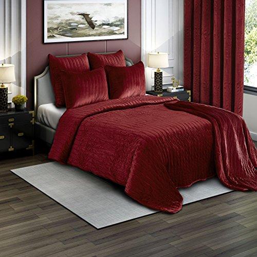 Red Quilt Set (Brielle Premium Heavy Velvet Quilt Set with Cotton Backing, King, Burgundy)