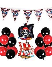 PuTwo Globos Rojos y Negros 43 Piezas Globos de Látex y Globos de Aluminio y Pancarta de Cumpleaños Globos Negros y Globos Rojos Artículos de Fiesta Pirata para Cumpleaños de Niños-Rojo y Negro