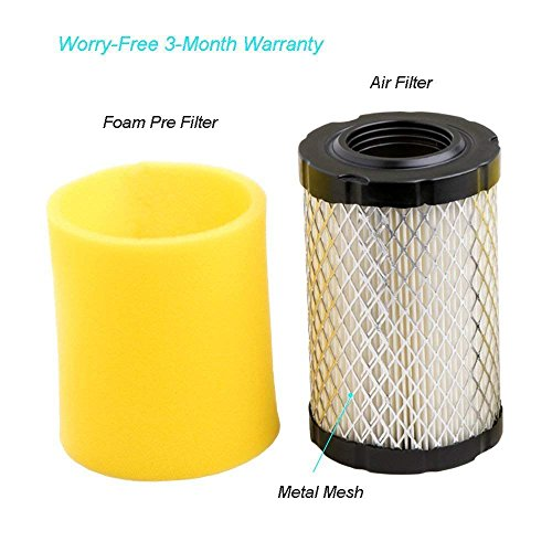 HEYZLASS 2Pack 591334 Air Filter, Replace for Briggs Stratton 796031 594201 OEM Air Cleaner Cartridge, Lawn Mower Air Filter, Plus Foam Pre Filter