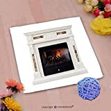 VROSELV Custom Cotton Microfiber Ultra Soft Hand Towel-white luxury artificial electronic fireplace with firewoods isolated on white Custom pattern of household products(20''x20'')
