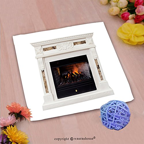VROSELV Custom Cotton Microfiber Ultra Soft Hand Towel-white luxury artificial electronic fireplace with firewoods isolated on white Custom pattern of household products(20''x20'') by VROSELV