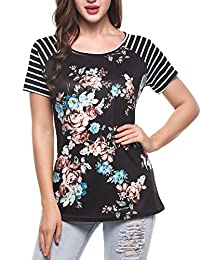 Meaneor Women Casual Floral Printed Short Sleeve Raglan Top Blouse Baseball Tee