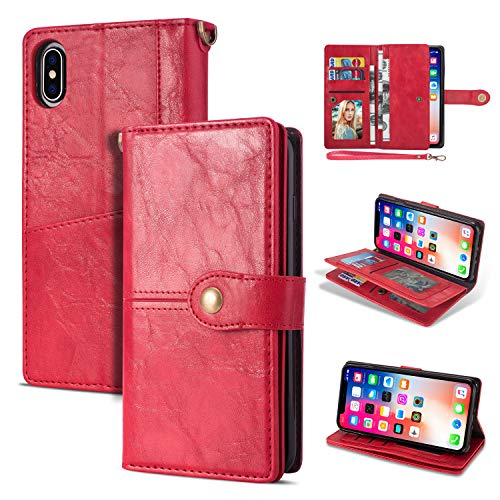 Black Friday Deals Cyber Monday Deals-iPhone Xr Case, iPhone Xr Wallet Case,Flip Leather Credit Card Holder Cash Pockets Wristlet Protective Case for iPhone Xr 6.1inch (Red)]()