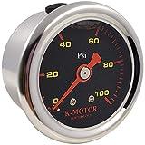K-Motor Performance Fuel Pressure Gauge Meter with 1/8 Npt Thread 100 Psi (Black Face)