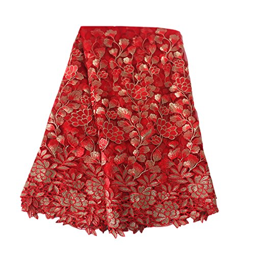 Aisunne African Lace Fabrics 5 Yards Nigerian French Lace Fabric with Fashion Embroidered Flower for Wedding Party Dresses (Red)