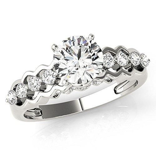 Scintilenora Curved Diamond Row GIA Cerified Engagement Ring 18k Gold 1 1/3 TDW