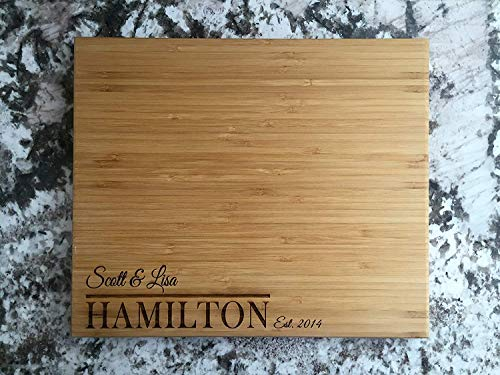 Personalized Gifts Couples Cutting Board - Wood Cutting Boards Bridal Shower, Housewarming, and Wedding Gifts (11 x 13 Single Tone Bamboo Rectangular, Hamilton Design)