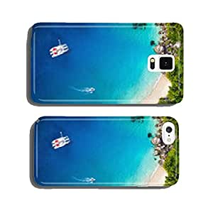 Amazing view to Yacht in bay with beach - Drone view. Birds eye cell phone cover case iPhone6 Plus