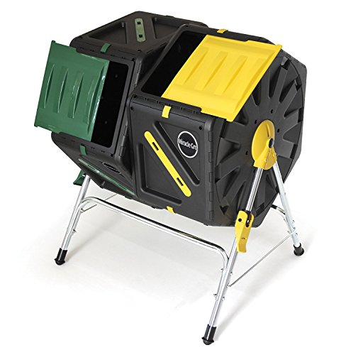Mini Compost - Miracle Gro Dual Chamber Compost Tumbler – Outdoor Bin with Easy-Turn System, 2 Sliding Doors, Sturdy Steel Frame – All Season Composter , BPA-Free + FREE Scotts Gardening Gloves (2 X 18.5gal/70L)