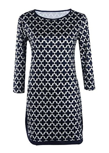 Mid Stylish Out Printed Casual Women Comfy Cut Coolred Black Length Dress qw4PZ