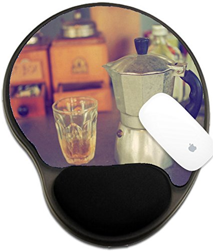 Luxlady Mousepad wrist protected Mouse Pads/Mat with wrist support design IMAGE ID: 34010862 coffee maker espresso machine on the table wood vintage color