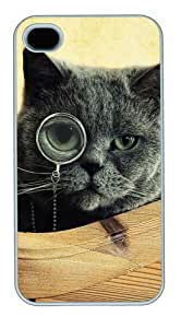 iPhone 4s Case & Cover - Cat Monocle Glasses121 PC Case For iPhone 4 and iPhone 4S White