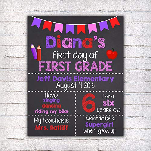 Dozili Personalized First Day of First Grade Sign
