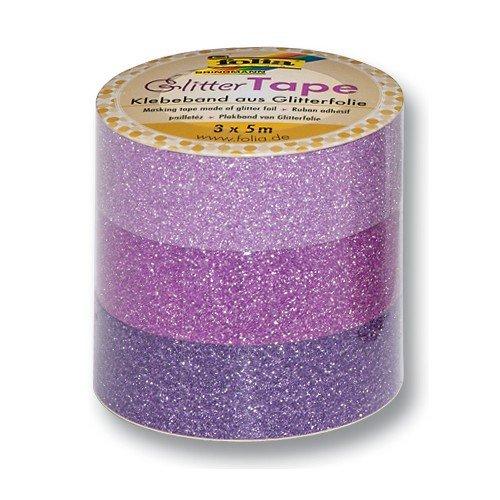 Folia 28302 Decoració n de cinta adhesiva Glitter Tape, color rosa/rosa/morado