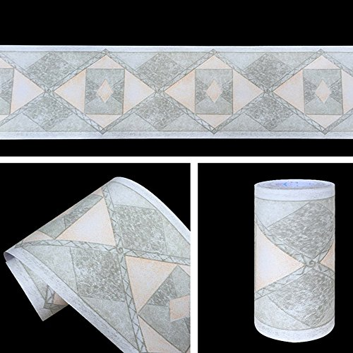 Yifely Geometric Design Diamond Wallpaper Border Peel & Stick Wall Covering Kitchen Bathroom Bedroom Tiles Decor Sticker ()