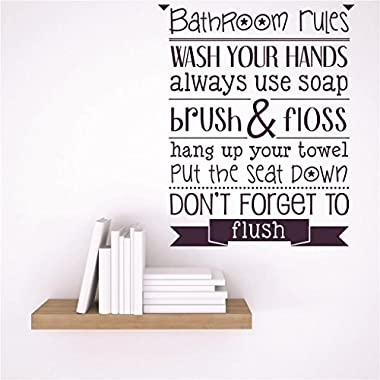 Discounted Sticker Decal : Bathroom rules wash your hands always use soap brush & floss hang up your towel put the seat down don't forget to flush Quote Size: 10 x 10 - 22 Colors Available