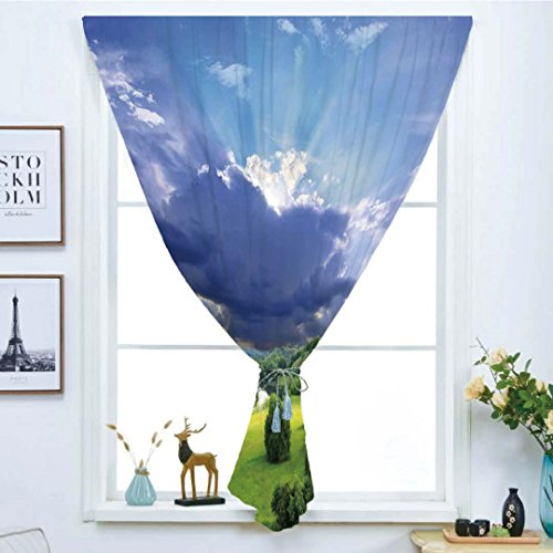 iPrint Blackout Window Curtain,Free Punching Magic Stickers Curtain,Nature,Exquisite View with Fluffy Clouds Sun Rays Over Grass Meadow Bush Picture,Light Blue Fern Green,Paste Style,for Living Room -