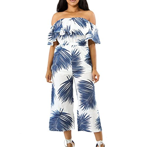 Women's Jumpsuit,Print Strapless Long Trousers Casual Party Clubwear by-NWEONESUN