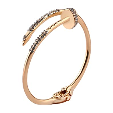 Amazon.com  Meiligo Fashion 3 Colors V Grooved Hair Band Holder Bracelet  Bangle Jewelry Rose Gold Silver Hair Tie Band Cuff Bangle Elegant indent  Jewelry ... 45a9c3a597f