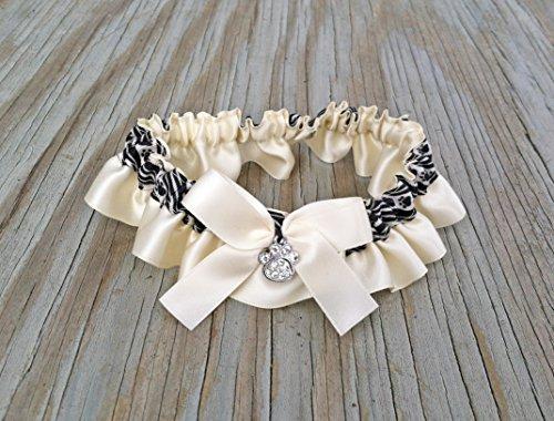 SEXY Ivory Satin Bling Bridal Paw Print Wedding Garter Rhinestone Keepsake Or Garter Set