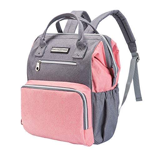 SoHo Diaper Bag Backpack Wide Opening 6 Pieces Nappy Tote Bag for Baby mom dad Stylish Insulated Unisex Multifunction Large Capacity Waterproof Durable Includes Changing pad Stroller Straps Pink Gray