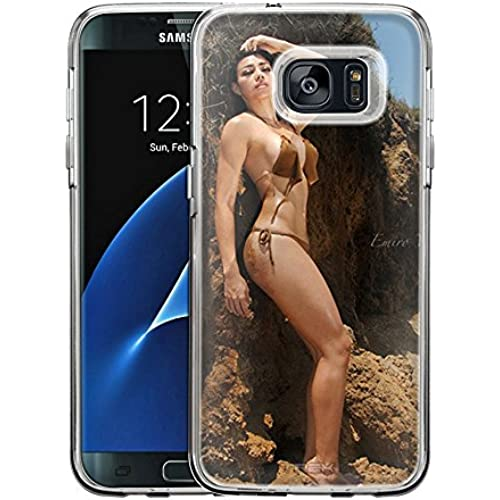 Samsung Galaxy S7 Edge Case, Snap On Cover by Trek Attractive Brunette on Rocks by Emiro One Piece Trans Case Sales