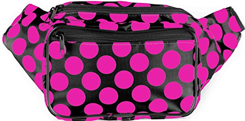SoJourner Bags Fanny Pack - Polka Dot (Black and Hot Pink)