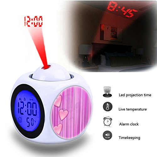520 Projector (Projection Alarm Clock Wake Up Bedroom with Data and Temperature Display Talking Function, LED Wall/Ceiling Projection,Customize the pattern-520.Heart Color Background Pink Colorful Hearts Paper)