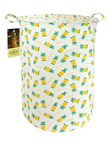 HUNRUNG Large Canvas Fabric Lightweight Storage Basket/Toy Organizer/Dirty Clothes Collapsible Waterproof for College Dorms, Kids Bedroom,Bathroom,Laundry Hamper (Pineapple)