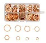 LepoHome 200Pcs 9 Sizes Flat Ring Copper Metric Sealing Washers Assortment Set