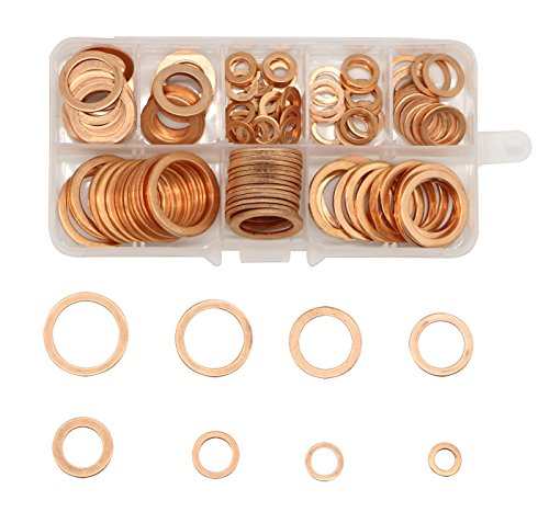 LepoHome 200Pcs 9 Sizes Flat Ring Copper Metric Sealing Washers Assortment Set by LepoHome